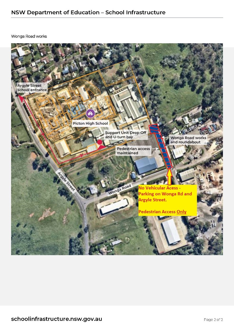 Parents and Community there is restricted Vehicular Access to Picton High School via the Wonga Rd entrance. Please see attached map.