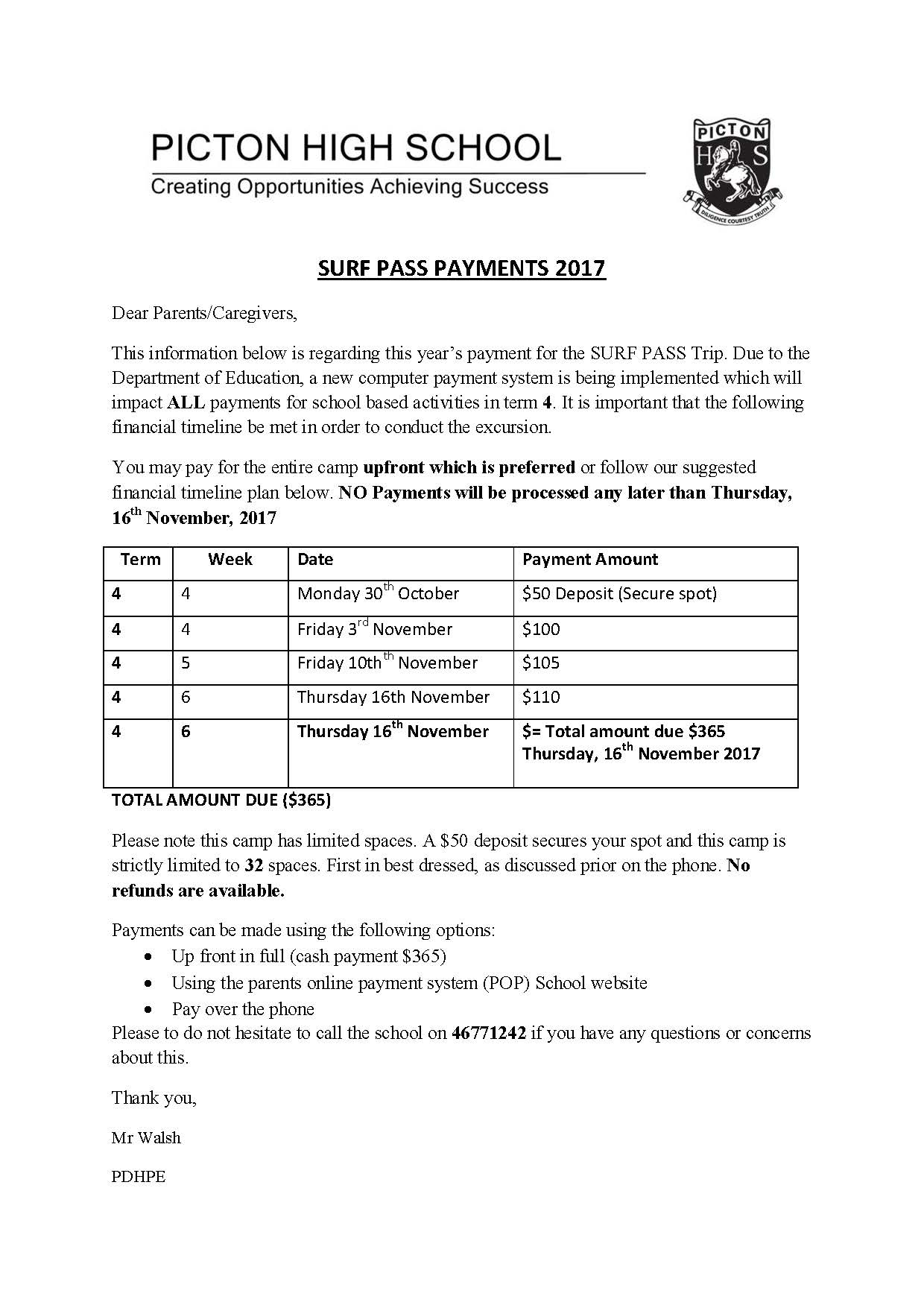Surf Camp payment plan 2017